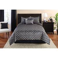 Mainstays Full or Queen Geometric Jacquard Comforter Set, 7 Piece