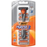 BIC Hybrid3 Comfort Men's Disposable Razor, 1 Handle 6 Cartridges