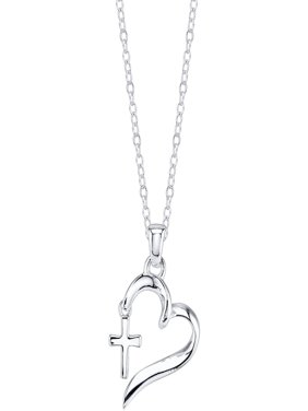 Sterling Silver Faith Hope Love Heart with Cross Necklace