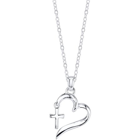 Sterling Silver Thistle (Sterling Silver Faith Hope Love Heart with Cross Necklace )
