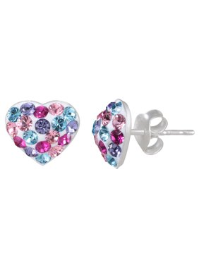 Girls' Sterling Silver Multi-Color Crystal Heart Stud Earrings