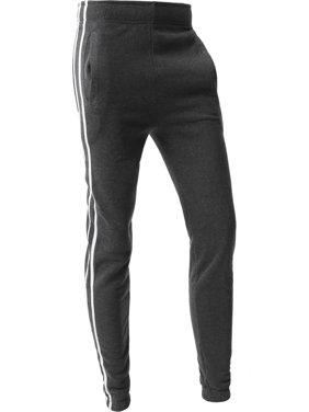 Mens Stripe Jogger Pants Lightweight Training Sweatpants Fleece Casual Elastic Athletic Activewear