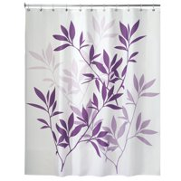 "InterDesign Leaves Fabric Shower Curtain, Standard 72"" x 72"", Purple"