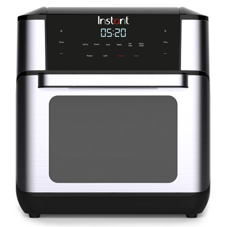 Instant™ Vortex™ Plus 10QT 7-in-1 Digital Air Fryer Oven, with Rotisserie Spit, Drip Pan, and 2 Cooking Trays, 1500W (Black/Steel)
