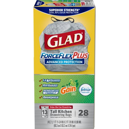 (Pack of 2) Glad ForceFlexPlus Advanced Protection Tall Kitchen Drawstring Trash Bags - Gain Original with Febreze Freshness -13 Gallon - 28 (Glad Tall Kitchen Drawstring)