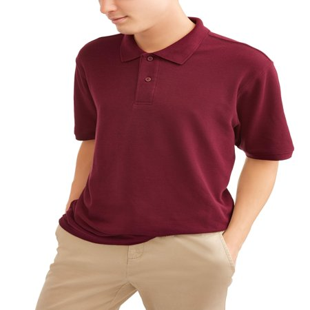 Wonder Nation Young men's short sleeve double pique polo, up to size -