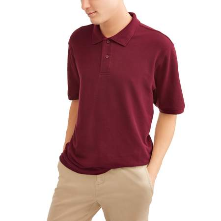 Wonder Nation Young men's short sleeve double pique polo, up to size 3xl ()