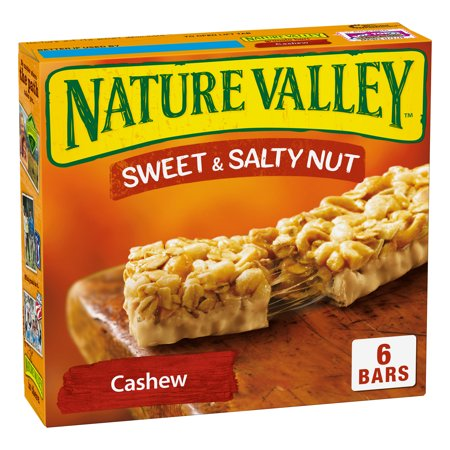 Nature Valley Granola Bars Sweet and Salty Nut Cashew 6 Bars - 1.2