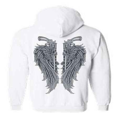 Women's/Unisex Zip-Up Hoodie Beautiful Angel Wings  Pistols Tucked](X Wing Pilot Hoodie)