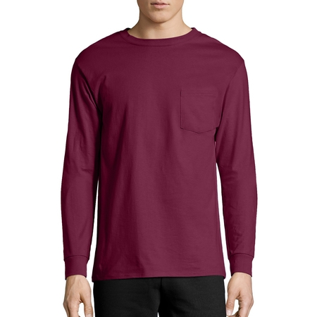 Hanes Long Sleeve Tee - Hanes Big Men's Tagless Long Sleeve Pocket T-shirt