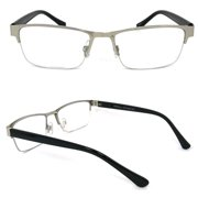 fea1336208 1 Pair Metal Rectangular No Line Progressive Trifocal Clear Lens Reading  Glasses - Better Then Bi