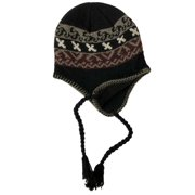 6e2f07141e0db Mens Black   Red Eco Raggs Peruvian Style Wool Blend Trapper Hat Fleece  Lined
