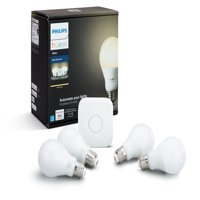 Philips Hue White A19 Smart Light Starter Kit, 60W LED, 4-Pack
