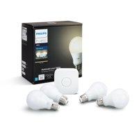 Philips Hue White A19 Smart Light Starter Kit, 60W LED, 4-Pack