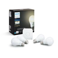 Philips Hue White Smart Light A19 Starter Kit, 60W Equivalent, Hub Included, 4 Bulbs