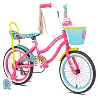 """LittleMissMatched 16"""" Girls, Emoji Bike, Pink/Light Blue, For Ages 4-8"""