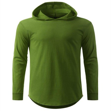 Burgandy Apparel - hooded Elongated Basic Drop Tail Long Sleeve T-Shirt