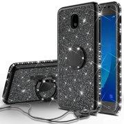 Cute Glitter Bling Diamond Bumper Ring Stand Phone Case for Samsung Galaxy J7 Crown Case,
