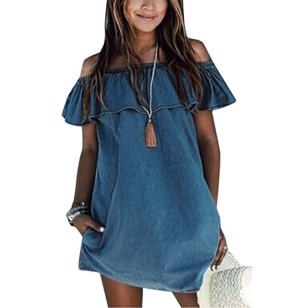 Front Denim Mini Dress - Women Ruffle Off Shoulder Mini Denim Jeans Summer Casual Short Mini Shirt Dress Ladies Frilly Long Tops Beach Sundress