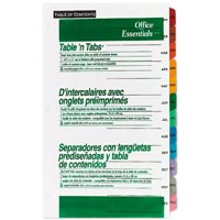 """Office Essentials Table' n Tabs Dividers 8 1/2"""" X 11"""" - 1 SET, 1.0 CT"""