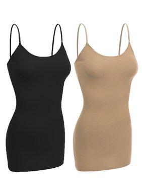 Essential Basic Women Basic Built In Bra Spaghetti Strap Layering Cami Top Tank - Junior Size