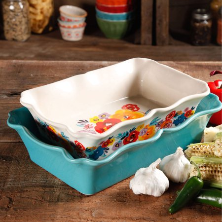 Bakeware Roasting Dish - The Pioneer Woman 2-Piece Rectangular Ruffle Top Ceramic Bakeware Set
