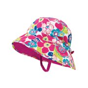 1be4625e Sun Smarties Pink and Blue Adjustable and Reversible Baby Girl Sun Hat -  Floral Design Reverses