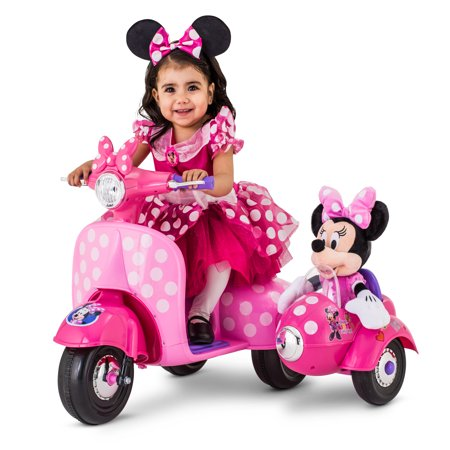 6-Volt Minnie Mouse Happy Helpers Scooter with Sidecar Ride-On by Kid Trax (Toys For A 2 Year Old)