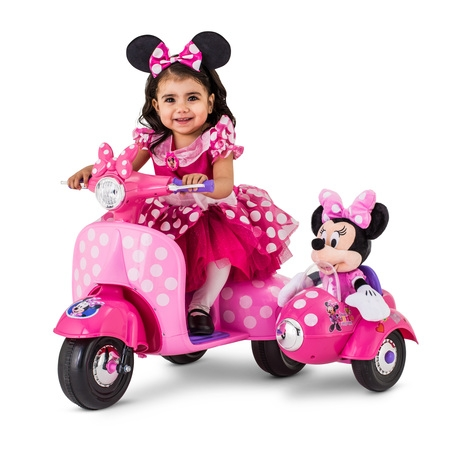 6-Volt Minnie Mouse Happy Helpers Scooter with Sidecar Ride-On by Kid Trax - Ride On Toys For 4 Year Olds