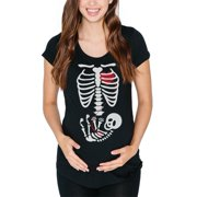 1a9e296a026d2 Halloween Baby Skeleton Black Maternity Soft T-Shirt