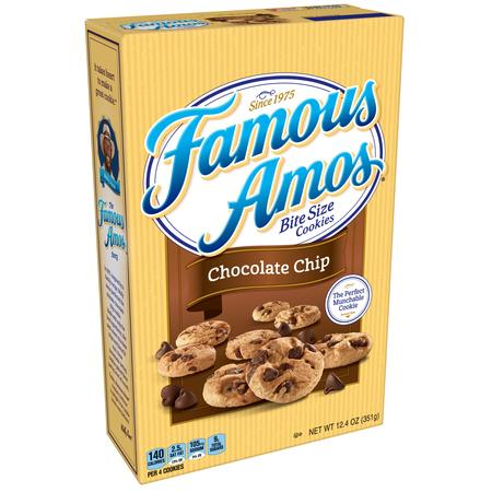 (2 Pack) Famous Amos Bite Size Chocolate Chip Cookies, 12.4 oz Chocolate Semi Sweet Cookies