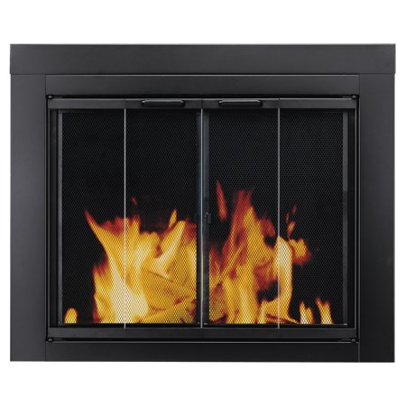 Fmi Fireplace Glass Doors (Pleasant Hearth Ascot Black Fireplace Glass Doors - Medium )