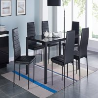 7 Piece Dining Set Tempered Glass Top Table and 6 Kitchen Room Hairs + Placemat