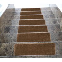 "Ottomanson Softy Stair Treads Solid Skid Resistant Rubber Backing Non Slip Carpet Stair Tread Mats, 9"" x 26"""