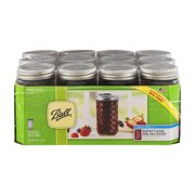 Ball Quilted Crystal Mason Jar w/Lid & Band, Regular Mouth, 12 Ounces, 12 Count