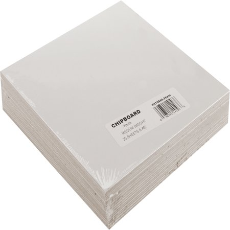 "Grafix Medium Weight White Chipboard Sheets, 6"" x 6"", White 25/Pkg"