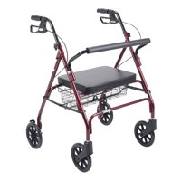 Drive Medical Heavy Duty Bariatric Rollator Rolling Walker with Large Padded Seat, Red