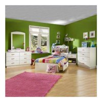 Kids Pure White Twin Wood Mates Storage Bed 4 Piece Bedroom Set