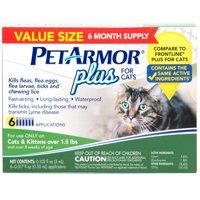 PetArmor Plus Flea & Tick Prevention for Cats (Over 1.5 lbs), 6 Treatments