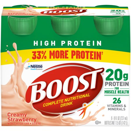 Boost High Protein Complete Nutritional Drink, Creamy Strawberry, 8 fl oz Bottle, 6