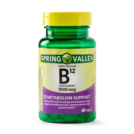 (2 Pack) Spring Valley Vitamin B12 Timed Release Tablets, 1000 mcg, 60 Ct