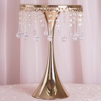 "BalsaCircle 17"" tall Centerpiece Pedestal Cake Stand with Acrylic Crystal Chains"