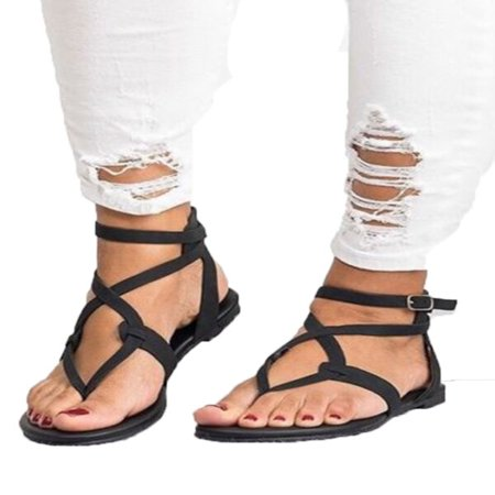 Black Flower Thong Sandal (Womens Summer Boho Flip Flops Sandal Cross T Strap Thong Flat Casual Shoes)