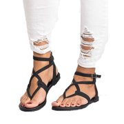 724e10a5b Womens Summer Boho Flip Flops Sandal Cross T Strap Thong Flat Casual Shoes  Size