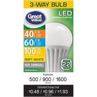 Great Value LED 3-Way (E26) Light Bulb, 4-16W (40-100 Equivalent), Soft White