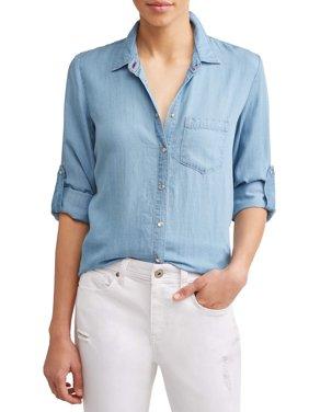 Chambray Button Down Pocket Shirt Women's