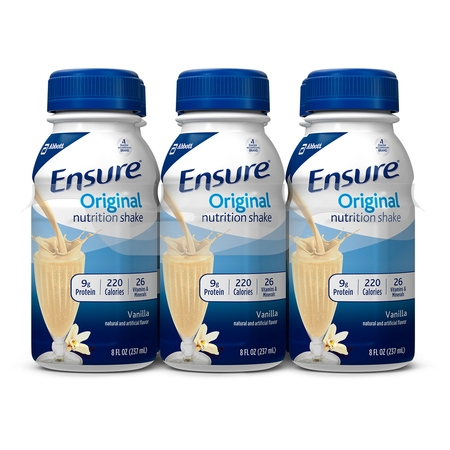 Ensure Original Nutrition Shake Vanilla with 9 grams of protein, Meal Replacement Shakes, 8 fl oz Bottles (Pack of