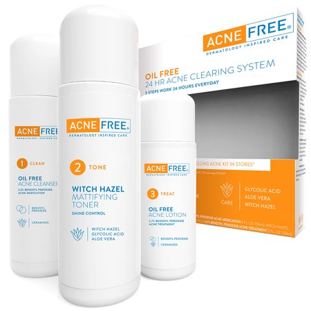 - AcneFree Oil Free 24 HR Acne Treatment Kit, 3 Step Acne Clearing System