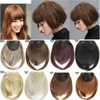 1/2Pcs Side Bangs Clip on Neat Bang Fringes Clip in Synthetic Hair Extensions as Human Straight Hair