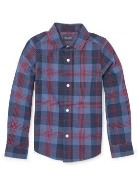 Long Sleeve Button Up Plaid Shirt (Little Boys & Big Boys)